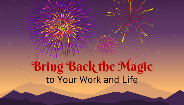 Bring Back the Magic Illustration of a Sunset and Fireworks