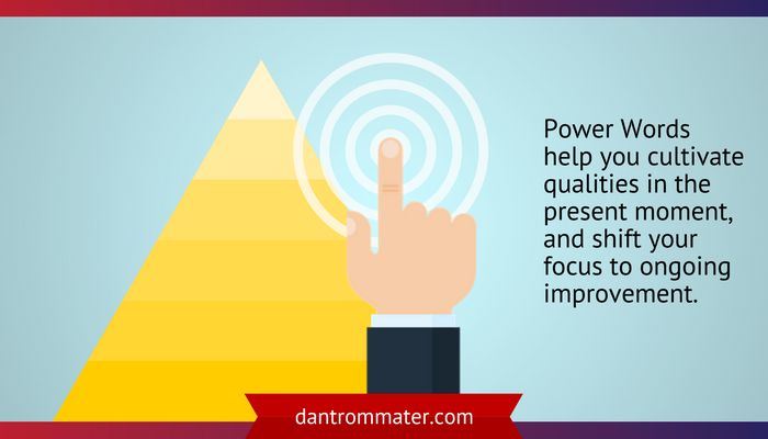 Power words for continuous improvement illustration of hand touching a bullseye