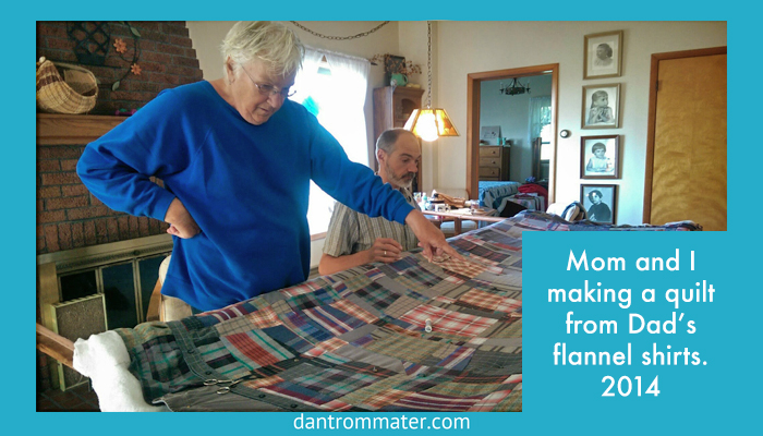 Priscilla and Dan Trommater quilting