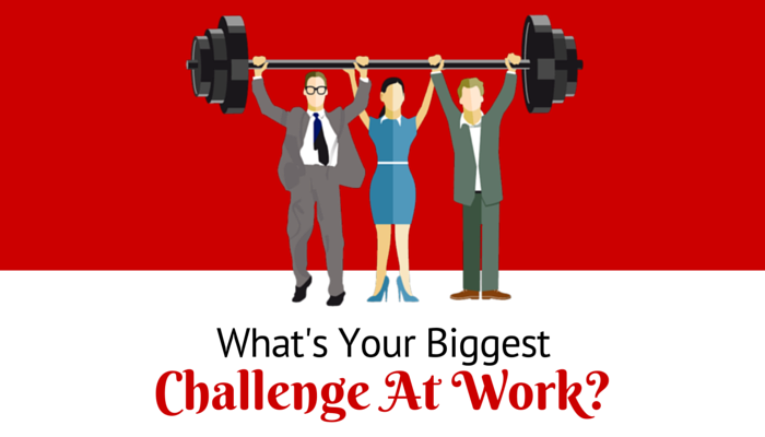 What's Your Biggest Challenge At Work Image Red Background Colleagues Holding Barbell Weight