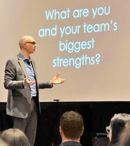 Keynote speaker Dan Trommater talks about how strengths help teamwork